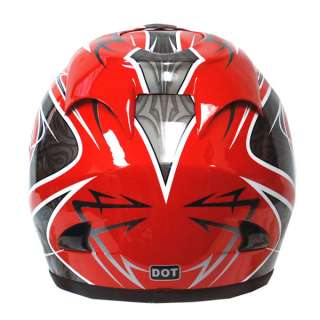 Street Bike Adult Full Face Helmet Arrow Red Size S M L XL