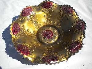 Antique EAPG La Belle Rose Goofus Glass Gold Red Bowl
