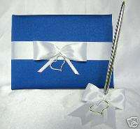 Elegant Royal Blue White Heart Wedding Guest Book set