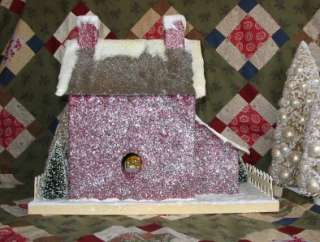 Colonial Primitive Red Stone Lighted Putz Christmas House Paper Mache