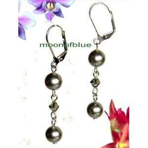 Silver Swarovski Crystal / Pearl Dangle Earrings