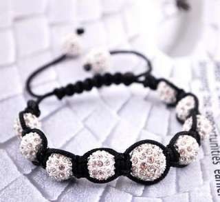White 1pcs DIY bracelet Bangle Disco Crystal Ball Beads Xmas gift9