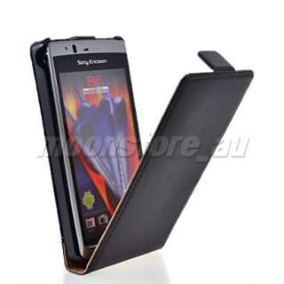 LEATHER FLIP POUCH CASE COVER FOR SONY ERICSSON XPERIA ARC X12 BLACK