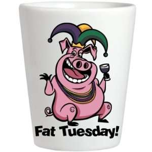 Mardi Gras Fat Shot Custom Ceramic Shotglass Kitchen