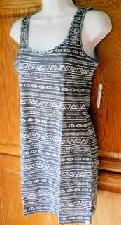 BILLABONG NAVY WHITE TRIBAL PRINT STRETCH TANK SUNDRESS