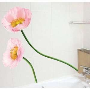 PINK POPPY ADHESIVE WALL DECOR MURAL STICKER PS 58009