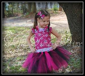 Pirate Princess Monster High pageant birthday tutu dress 12months  4t