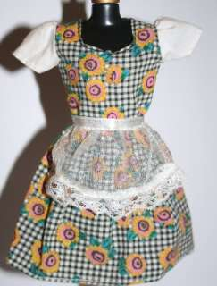 Barbie doll black & white plaid dress sunflowers lace apron overlay