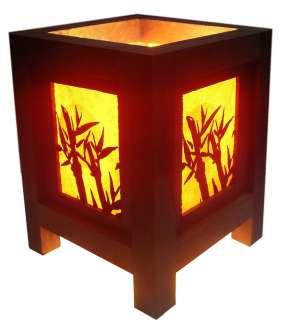LOVELY MINI ASIAN ORIENTAL MOON BAMBOO TABLE LAMP