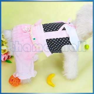 Pink & Black Pet Dog Jumpsuit Clothes Apparel Pearl M
