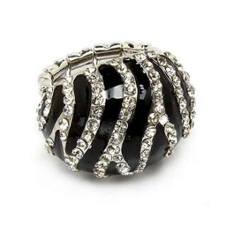Zebra Animal Print Clear Crystal Black Enamel Stretch Adjustable