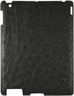 NEW GENUINE BLACK OSTRICH SKIN LEATHER IPAD 2 CLIP CASE