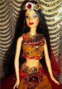Desire ~ Belly Dancer ~ barbie doll ooak red & gold black hair