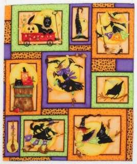 Halloween Witch Black Cat Hat Quilt Block Squares 6