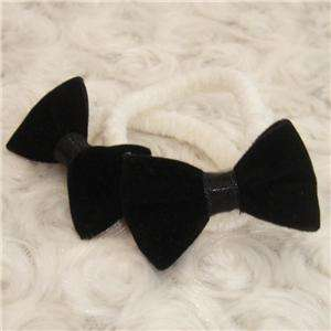 Black Velvet Ribbon Bow Elastic Hair Ties Free Ship