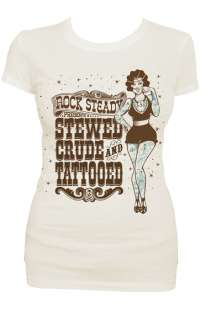 Steady Stewed Crude & Tattooed Womens T Shirt Rockabilly Retro Pin