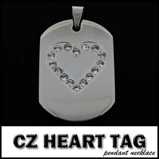 CZ Heart Dog Tag Pendant Necklace Chain Link 316L Steel