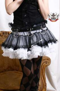 Moulin Rouge Goth Punk Puffy TUTU Ruched Skirt+Bloomer