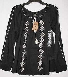 LUCKY BRAND WOMENS BOHO LUXURY PEASANT BLOUSE BLACK TUNIC NWT$80 S