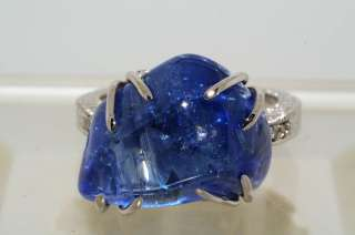 LAPIS GEM CERTIFIED NATURAL BLUE SAPPHIRE & DIAMOND RING SIZE 7