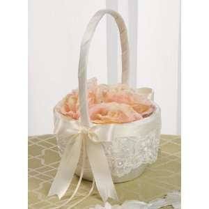 Ivory Lace Flower Girl Basket with Satin Chocolate Brown Ribbon 223VI