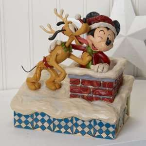 Disney Jim Shore Santa Mickey Mouse Pluto 2011 Chimney