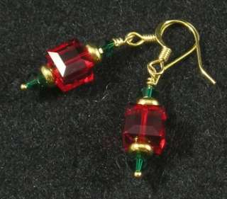 Swarovski Crystal Christmas Ornament Earrings Red Green Gold Cube