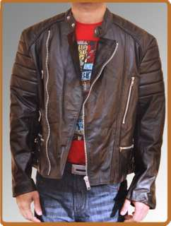 Brando Motorcycle Black Biker Genuine Leather Jacket Mens Heavy Duty