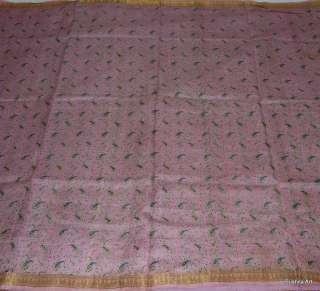 Light Baby Pink 100% Real Pure Silk Indian Antique Vintage 5+ Yards