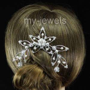 Bridal Wedding Prom White Faux Pearl Hair Comb T1037