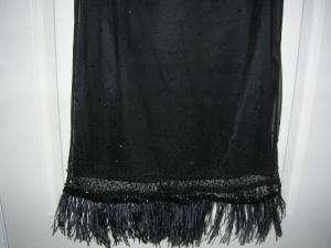 TAHARI black fancy beaded skirt 6 SUPER CUTE