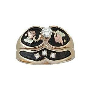 Black Hills 10k Gold Womens Diamond Bridal Set with Engagement Ring