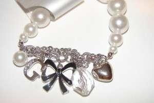 NWT Guess pearl & silver tone stretch charm bracelet