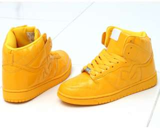 NEW Mens Shiny Yellow High Top Fashion Sneakers Trainers Shoes sz US 6