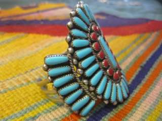 VTG Pawn Navajo Zuni Turquoise Coral Sterling Silver HUGE Signed Cuff