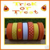 35 Yds HALLOWEEN CANDY CORN THEME GROSGRAIN RIBBON LOT