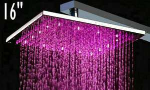 16 Square 3 Color LED Series Stainless Steel Rain Shower Head 8104A