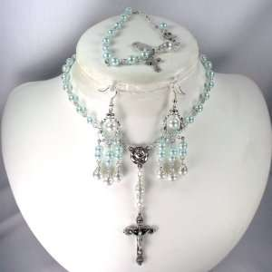 Catholic Wedding Jewelry 6mm Mint Green rosary set