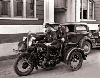 1936 THREE WHEEL HARLEY DAVIDSON POLICE BIKE TRIKE VEHICLE PHOTO