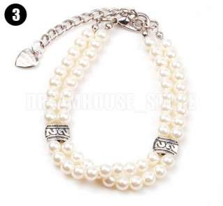 New Dog Cat Pet Pearls Necklace Charms Jewelry S M L