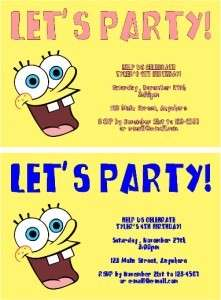 SPONGEBOB SQUAREPANTS Birthday Invitations   U Print!