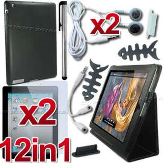 12 ACCESSORY LEATHER CASE+SCREEN COVER FOR APPLE IPAD 2