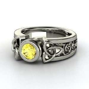 Celtic Sun Ring, Round Yellow Sapphire Palladium Ring
