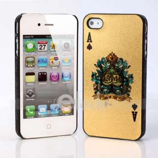 Hard Plastic Case Cover for iPhone 4 4G Gold Poker Spad A Black Frame