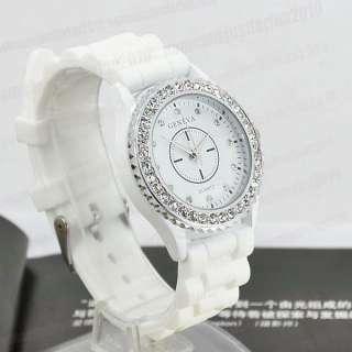 Classic Gel White Silicone Wristband GENEVA Quartz Wrist Watch Lady