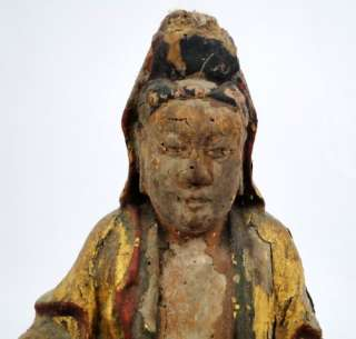 Antique Chinese Ming Dynasty Carved Wood Polychrome & Gold Gilt Buddha