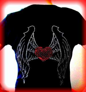 ANGEL WINGS RED HEART RHINESTONE T SHIRT~S M L XL 2X 3X