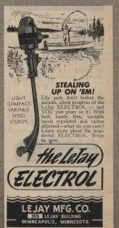 Vintage Ad Lejay Electrol Electric Fishing Motors Minneapolis,Minn