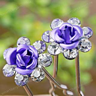 Rose Flower Crystal Hair Pin Jewelry Wedding Party Girl Clip