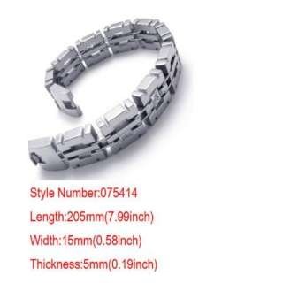 Cool Men Silver Crystal Stainless Steel Bracelet Bangle Chain Gift+Box
